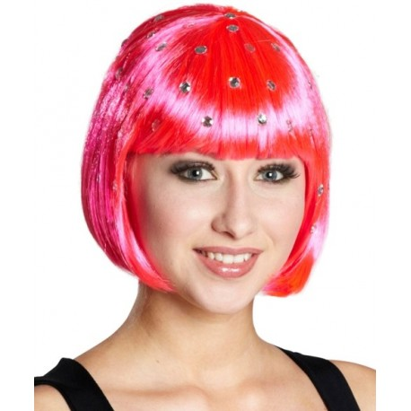 Perruque courte fluo rose à strass femme