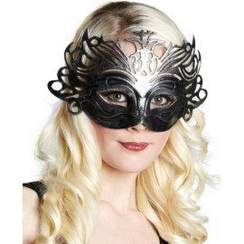 Masque loup Vénitien Domino Argent