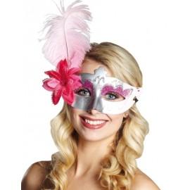 Masque loup Vénitien Argent Pink Domino avec Fleur, Plume