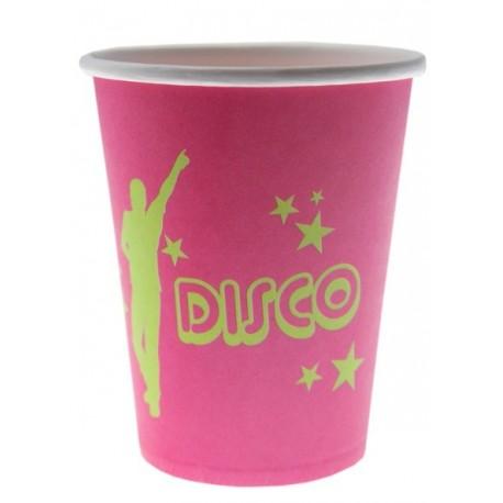 10 Gobelets Disco Carton Fuschia Motifs Disco Vert Anis