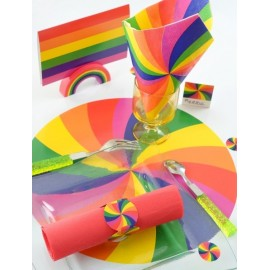 Sets de table Arc en ciel 34 cm les 6