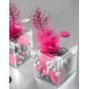 Boîtes à dragées cube transparent 4 cm les 6