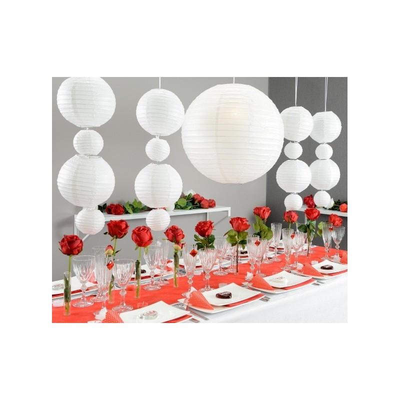 Lanterne boule chinoise papier blanc 50 cm - Boule chinoise papier ...
