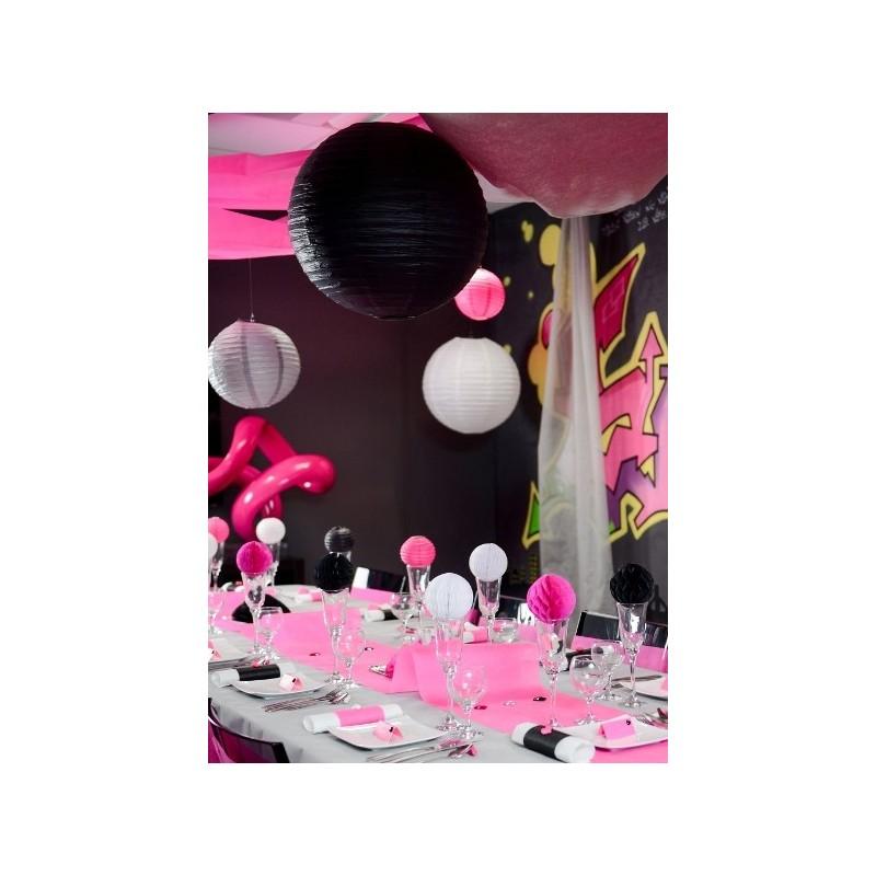 Lanterne boule chinoise papier noir 50 cm - Boule chinoise papier ...