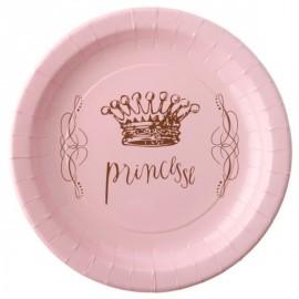 Assiettes Princesse carton rose 22.5 cm les 6