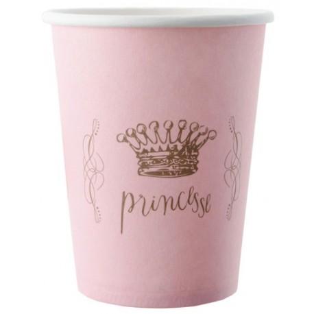 Gobelet Princesse carton rose les 6