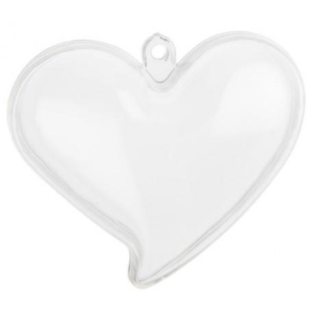 Boite à dragées coeur plexi transparent 6 cm les 4