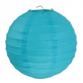 Lanterne boule chinoise papier turquoise 30 cm les 2