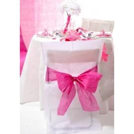 Housses de chaise intissé blanc noeud fuchsia les 10