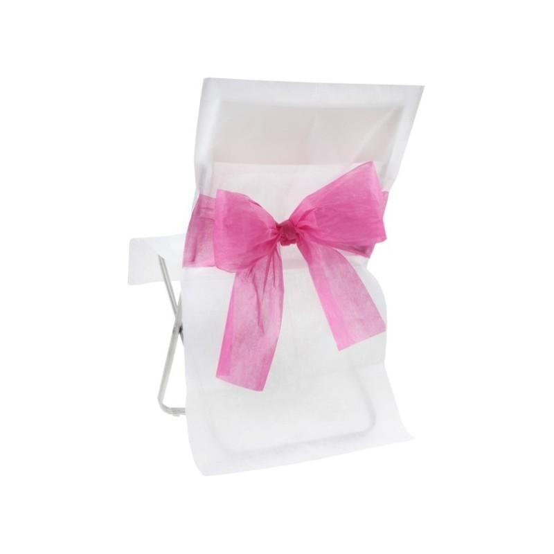 Housse de chaise intiss blanc noeud fuschia les 10 - Housse de chaise plastique ...