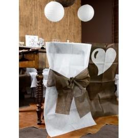 Housse de chaise intissé blanc noeud chocolat les 10