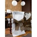 Housses de chaise intissé blanc noeud chocolat les 10