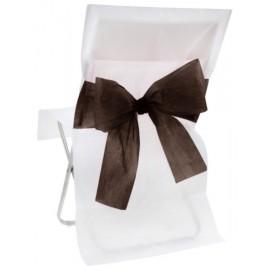 Housses de chaise intissé blanc noeud noir les 10