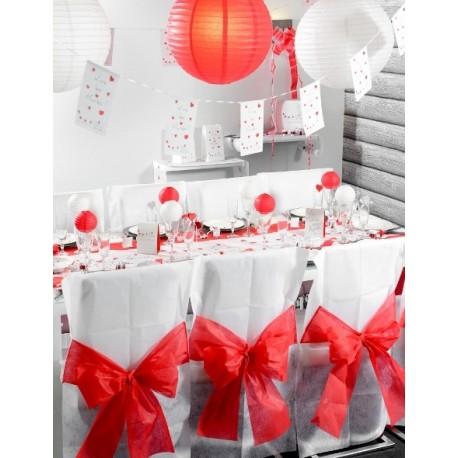 Housse de chaise intissé blanc noeud rouge les 10