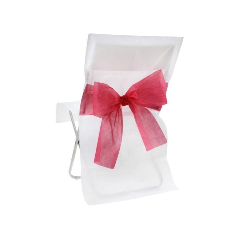 Housse de chaise intiss blanc noeud rouge les 10 - Housse de chaise en papier ...