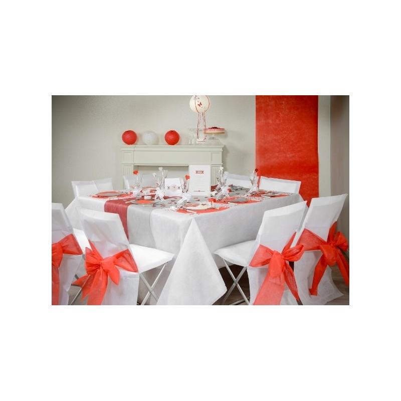 Housse de chaise intiss blanc noeud rouge les 10 for Housse de chaise rouge
