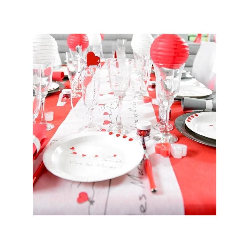 Chemin de table vive les mari s achat chemins de table mariage - Chemin de table rouge mariage ...