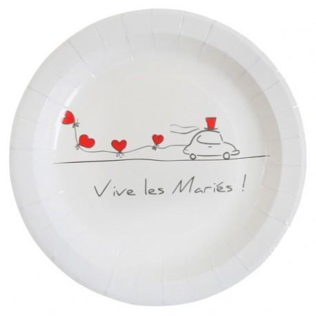 Assiette Vive les mariés Carton Blanc 23 cm les 10
