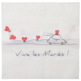 Serviettes de table Vive les mariés les 20