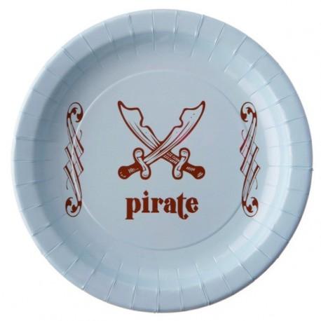 Assiette Pirate Carton Bleu ciel 22.5 cm les 6