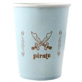 Gobelet Pirate carton bleu ciel les 6