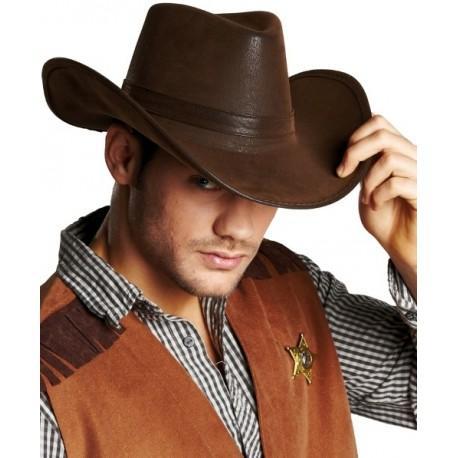 chapeau cowboy brun imitation cuir adulte