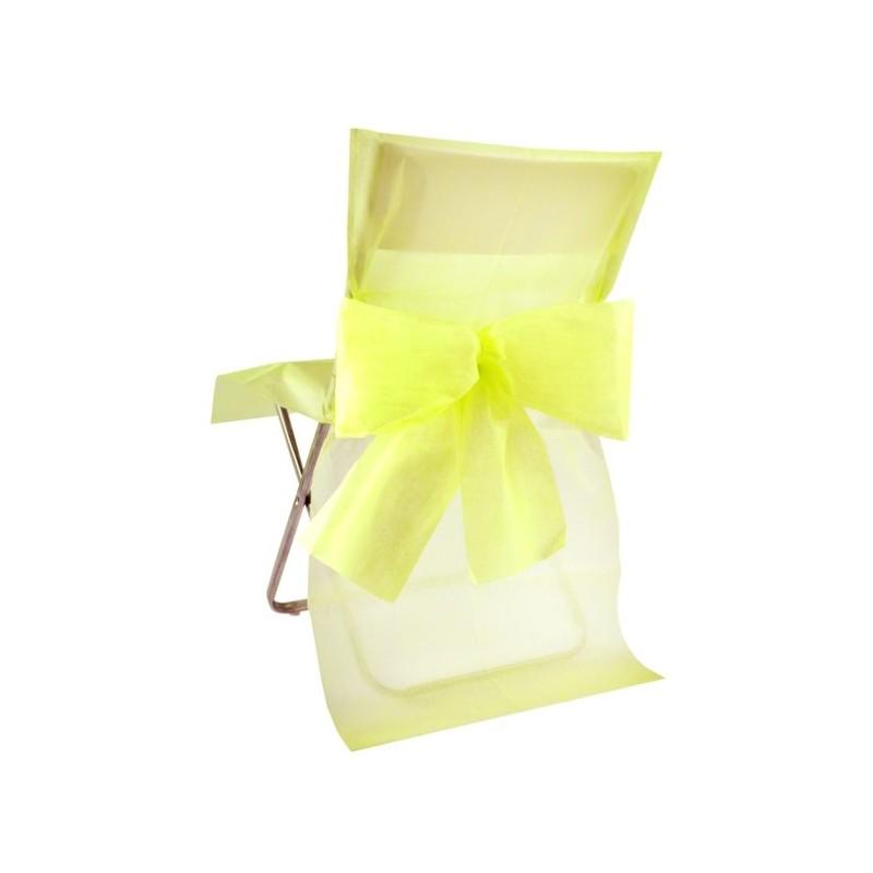 Housse de chaise intiss jaune avec noeud les 10 - Housse de chaise plastique ...