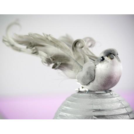 Oiseau gris en plumes sur pince 12 cm les 2