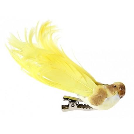 Oiseau Jaune en Plumes sur pince 6.5 cm les 4