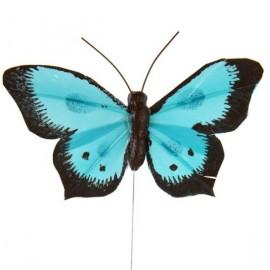 Papillons Bicolore Turquoise en Plumes sur Tige les 6