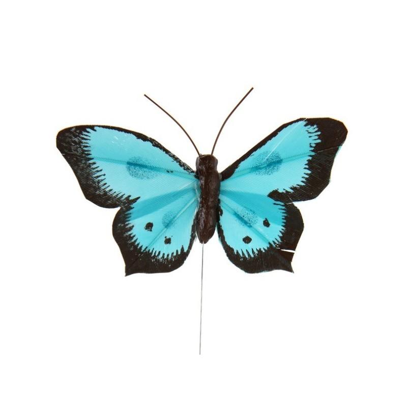 Papillon bicolore turquoise en plumes sur tige les 6 d co - Papillon sur tige ...
