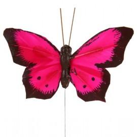 Papillon Bicolore Fushia en Plumes sur Tige les 6 déco