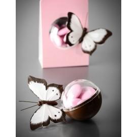 Papillon Bicolore Blanc en Plumes sur Tige les 6 déco