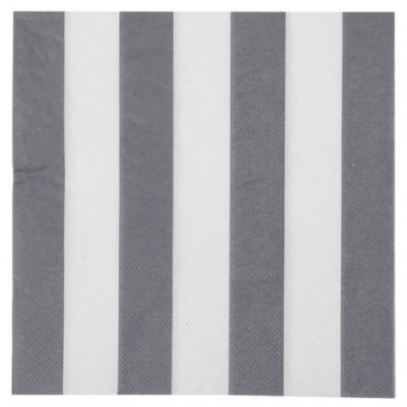 Serviette de table rayée gris blanc les 20