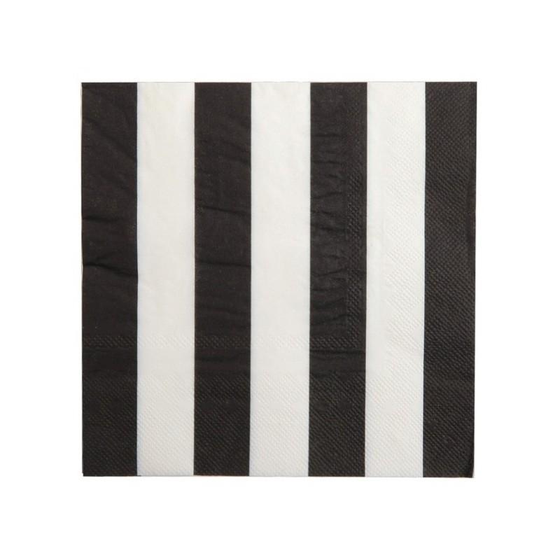 Serviette de table ray e noir blanc les 20 serviette papier for Serviette de table noir