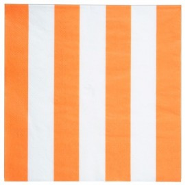Serviette de table rayée orange blanc en papier les 20