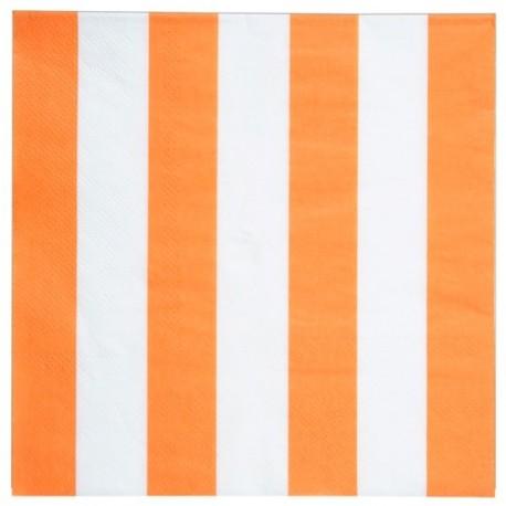 Serviette de table rayée orange blanc en papier les 20