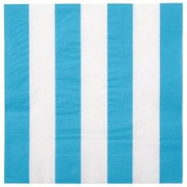 Serviettes de table Rayées Bleu turquoise Blanc les 20