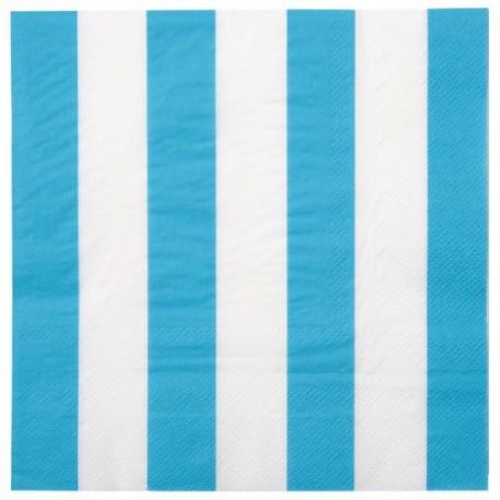 Serviette de table Rayée Bleu turquoise Blanc les 20