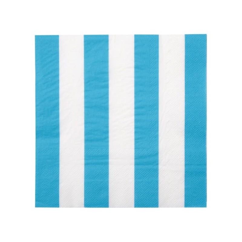 Serviette de table ray e bleu turquoise blanc les 20 - Serviette de table bleu roi ...