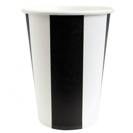Gobelets Carton Rayé Noir Blanc les 10