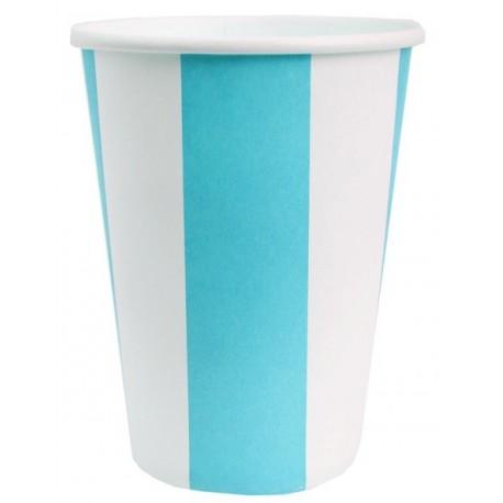 Gobelets Carton Rayé Bleu Turquoise Blanc les 10
