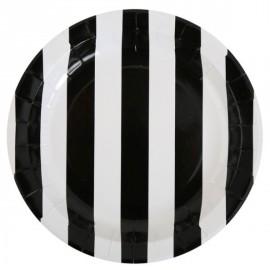 Assiettes Carton Rayées Noir Blanc 23 cm les 10