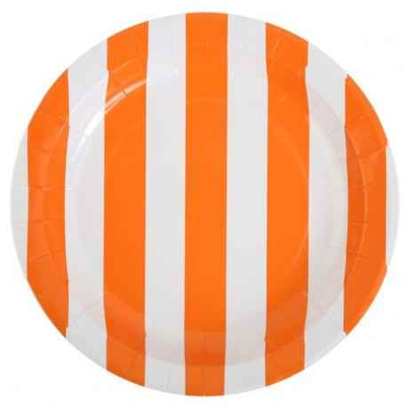 Assiettes Carton Rayées Orange Blanc 23 cm les 10