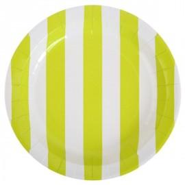 Assiettes Carton Rayées Vert anis Blanc 23 cm les 10