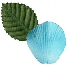 Pétales Bleu Turquoise avec Feuilles les 100