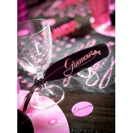 Plumes Glamour Noires Fushia 16 cm les 6