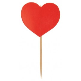 Piques Cocktail Coeur rouge les 10