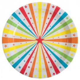 Assiettes Carton Cirque Etoiles 23 cm les 10