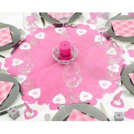 Centre de table intisse perfore coeur deco fushia gris